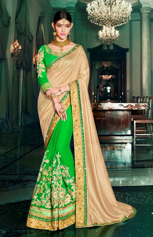Green & Golden Colored Georgette & Silk Embroidery Work Designer Saree With Blouse