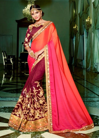 Maroon, Pink & Orange Colored Satin Embroidery Work Designer Saree With Blouse