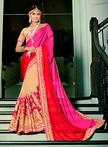 Beige, Pink & Red Colored Georgette & Silk Embroidery Work Designer Saree With Blouse