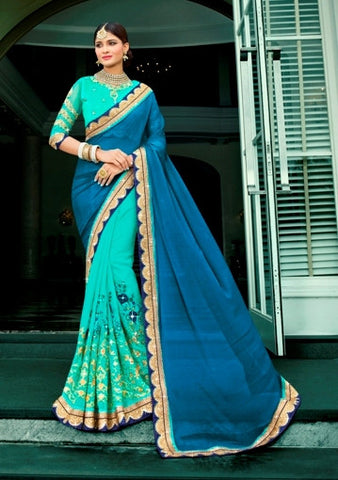 Aqua & Teal Blue Colored Chiffon Embroidery Work Designer Saree With Blouse