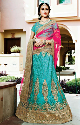 Aqua Blue & Pink Colored Net Heavy Embroidered Semi Stitched Lehenga Choli