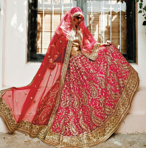 Corel Red & Beige Colored Net Heavy Embroidered Semi Stitched Lehenga Choli