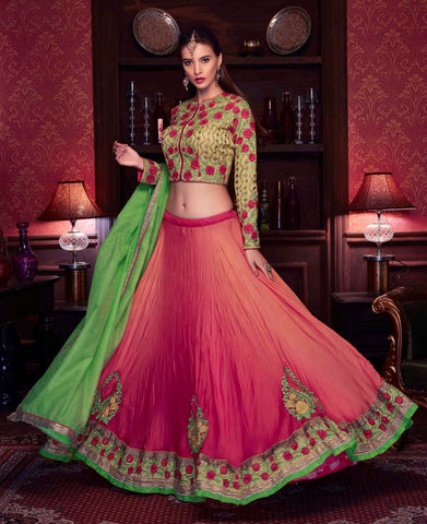 Pink Colored Satin Georgette Heavy Embroidered Semi Stitched Lehenga Choli