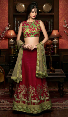 Maroon Colored Art Silk Heavy Embroidered Semi Stitched Lehenga Choli
