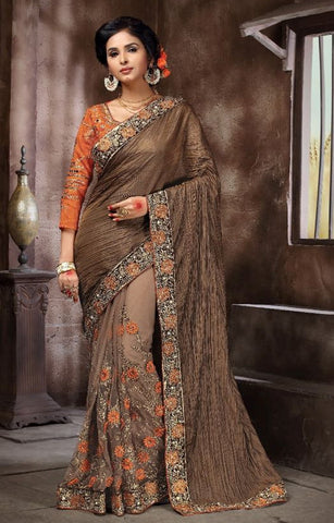 Brown Colored Silk & Net Embroidery Work Designer Saree With Blouse