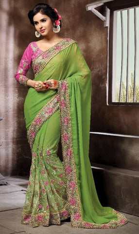 Green Colored Georgette & Net Embroidery Work Designer Saree With Blouse