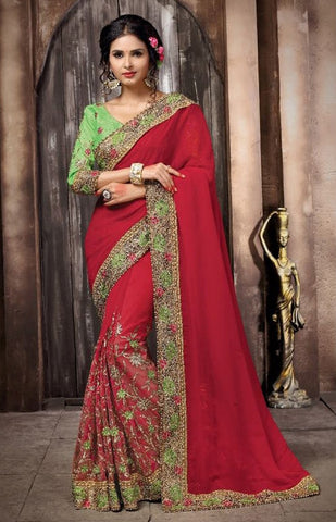Corel Red Colored Georgette & Net Embroidery Work Designer Saree With Blouse
