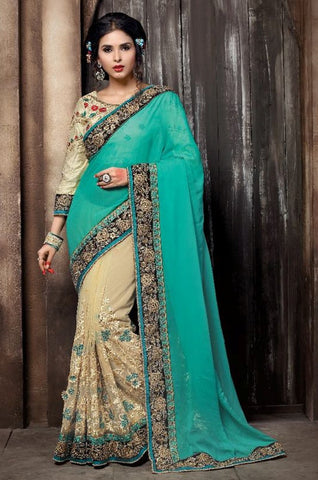Cream & Aqua Colored Georgette & Net Embroidery Work Designer Saree With Blouse