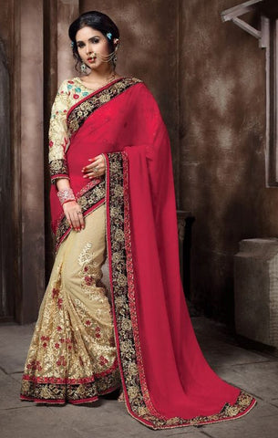 Beige & Dark Pink Colored Georgette & Net Embroidery Work Designer Saree With Blouse