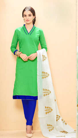 Green Colored Chanderi Embroidered Semi-Stitched Dress Material