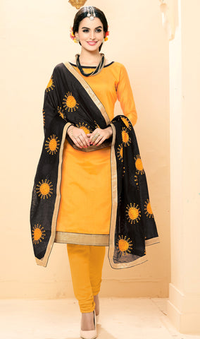 Orange Colored Chanderi Embroidered Semi-Stitched Dress Material