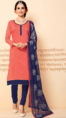Peach Colored Chanderi Embroidered Semi-Stitched Dress Material