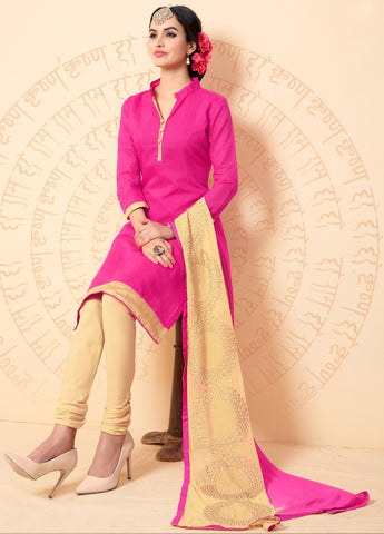Pink Colored Chanderi Embroidered Semi-Stitched Dress Material