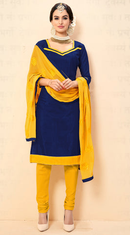 Navy Blue Colored Chanderi Embroidered Semi-Stitched Dress Material