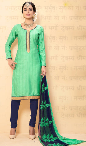 Sea Green Colored Chanderi Embroidered Semi-Stitched Dress Material