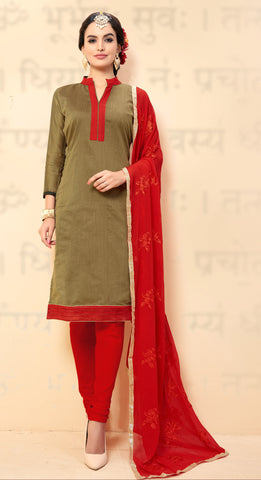 Brown Colored Chanderi Embroidered Semi-Stitched Dress Material