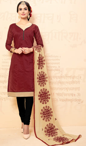 Maroon Colored Chanderi Embroidered Semi-Stitched Dress Material