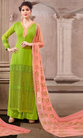 Green Colored Georgette Embroidered Semi-Stitched Dress Material
