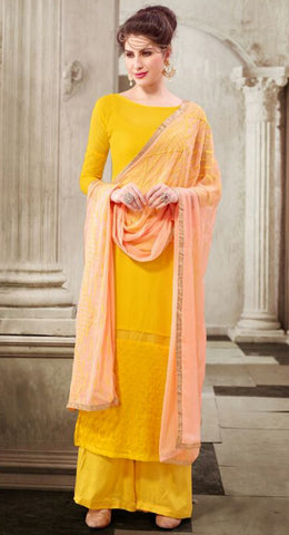 Mango Yellow Colored Georgette Embroidered Semi-Stitched Dress Material