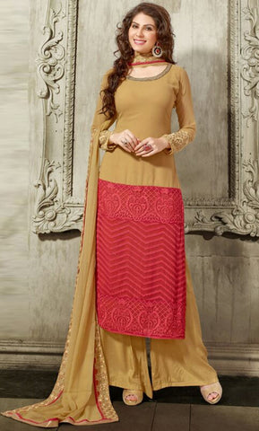 Dark Beige & Corel Red Colored Georgette Embroidered Semi-Stitched Dress Material