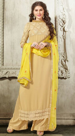 Beige Colored Georgette Embroidered Semi-Stitched Dress Material