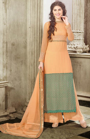 Peach Colored Georgette Embroidered Semi-Stitched Dress Material