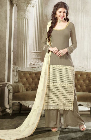 Fawn Colored Georgette Embroidered Semi-Stitched Dress Material