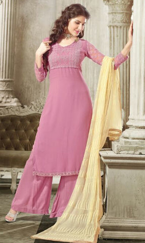 Baby Pink Colored Georgette Embroidered Semi-Stitched Dress Material