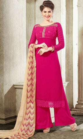 Rani Pink Colored Georgette Embroidered Semi-Stitched Dress Material