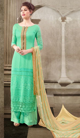 Sea Green Colored Georgette Embroidered Semi-Stitched Dress Material