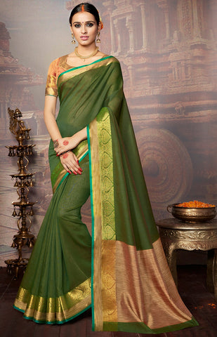 Green Colored Khadi Silk Printed Designer Saree With Blouse