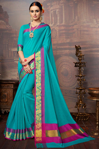 Turquoise Colored Khadi Silk Printed Designer Saree With Blouse