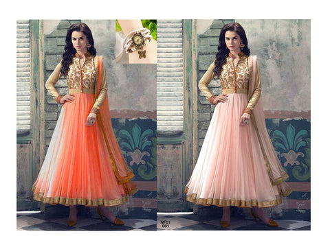 Rukhad Fashion Orange & Peach Embroidered Heavy Net Anarkali Suit Combo
