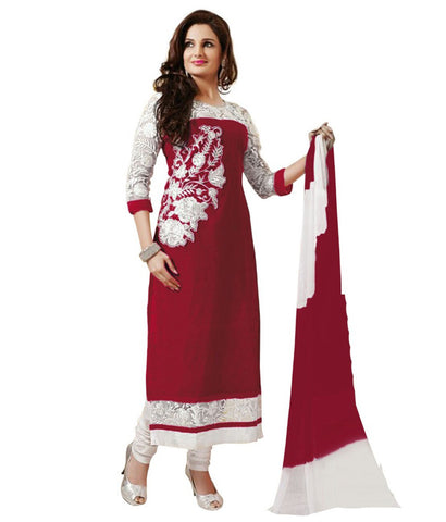 Red Color New Georgette Semi-Stitched Suit , DRESS MATERIAL- Rukhad Fashion