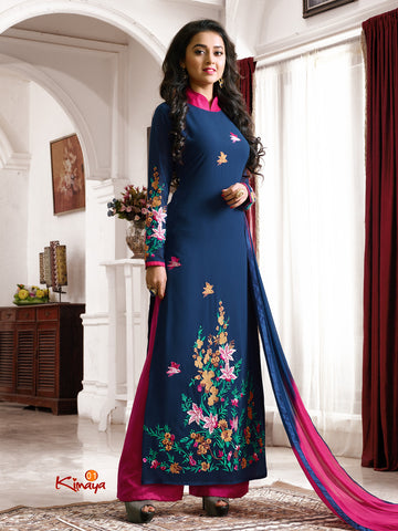 Blue Georgette Straight/Pakistani Suit , DRESS MATERIAL- Rukhad Fashion