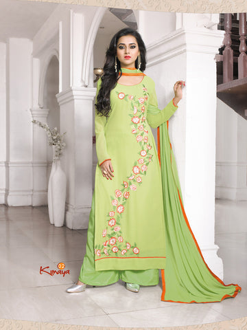 Green Pista Georgette Straight/Pakistani Suit , DRESS MATERIAL- Rukhad Fashion