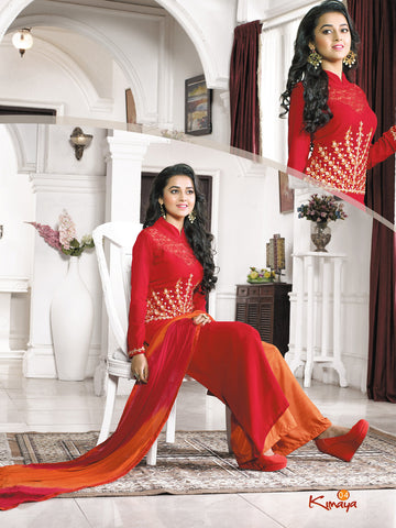 Red Georgette Straight/Pakistani Suit , DRESS MATERIAL- Rukhad Fashion