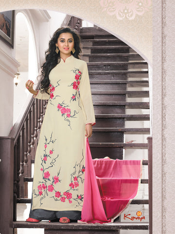 Cream Georgette Straight/Pakistani Suit , DRESS MATERIAL- Rukhad Fashion