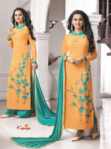 Yellow Georgette Straight/Pakistani Suit