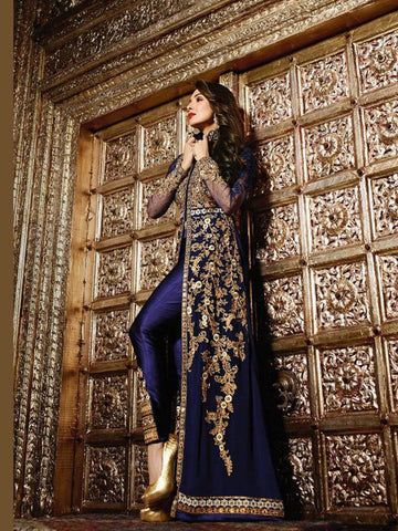 Exclusive Trendy Designer Navy Blue Straight Suit / Pakistani Suit , DRESS MATERIAL- Rukhad Fashion