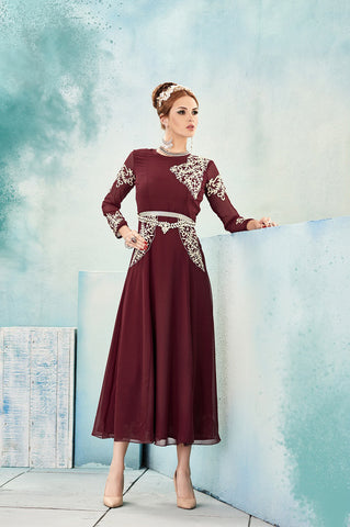 Maroon Embroidered Georgette Kurti , Kurti- Rukhad Fashion