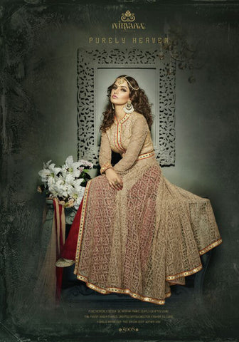 Exclusive Designer Beige Net and Silk Jacket Style Anarkali Suit , anarkali- Rukhad Fashion