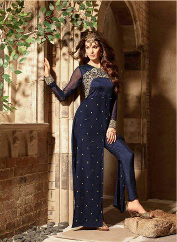 Navy Blue Georgette Straight Pant Suit , DRESS MATERIAL- Rukhad Fashion