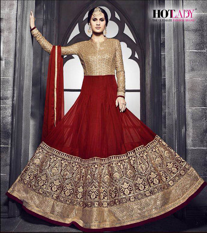 Red Embroidered Georgette Anarkali Suit , anarkali- Rukhad Fashion