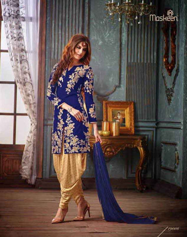 Multi Banglori Silk Embroidered Patiala Suit , DRESS MATERIAL- Rukhad Fashion
