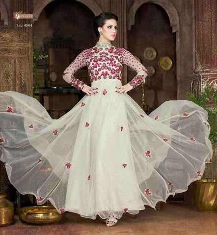 White Net Anarkali Gown