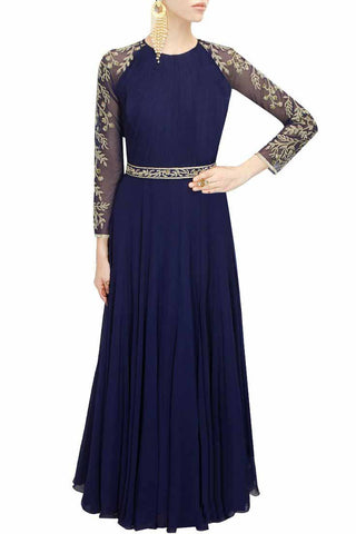 Navy Blue Color Embroidered Net Anarkali Suit , anarkali- Rukhad Fashion