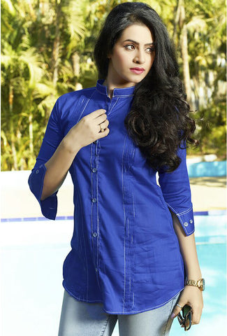 Women Blue Satin Glaze Cotton Printed Shirt