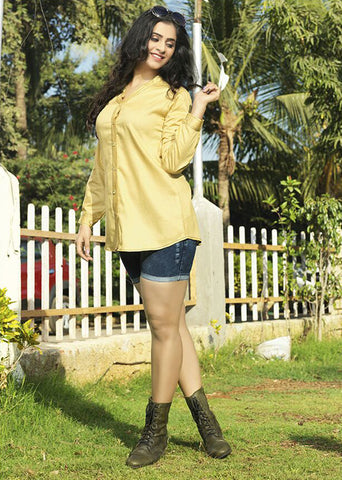 Women Yellow Satin Glaze Cotton Printed Shirt