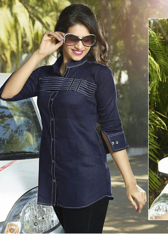 Women Navy Blue Satin Glaze Cotton Printed Shirt